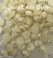 60x 12mm Beige Ivory Flat Back Rose Flower Resin Pearls Craft Wedding Beads Gems