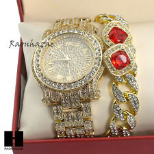 Hip Hop Iced Out Simulated Diamond Watch Cuban Bracelet & Red Ruby Earring Set