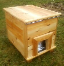 Large insulated feral cat, small dog outdoor shelter, cedar wood, The Birds Nest