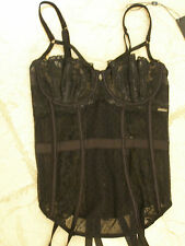 M &S BLACK FRENCH LACE BASQUE WITH SUSPENDERS 30C RRP £45 BNWT