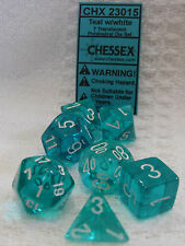 Chessex Dice 7 Polyhedral Die Box Set 23015 Translucent Teal w/ White RPG D&D