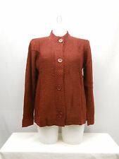 SIZE L Womens Sweatercoat TUDOR COURT Solid Brick Red Long Sleeve Button Front