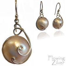 Handmade Sterling Silver White Mabe Pearl Earrings Gift Australian Poweseller