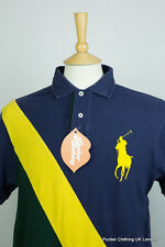 RALPH LAUREN MENS POLO SHIRT LARGE BIG PONY PANEL STRIPED SPORT CUSTOM FIT P47