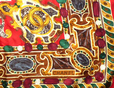 Authentic Chanel Silk Scarf Shawl Large 95cm  Red Gold Green Jewels CC Logo