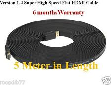 VERSION 1.4 Super High Speed Flat 5M HDMI 1080P Cable  LCD TV PC Laptop 5 Meter