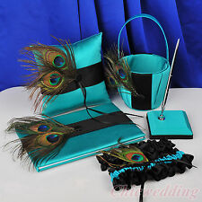Peacock Feather Wedding Guest Book and Pen Set Ring Pillow Basket Garter Teal