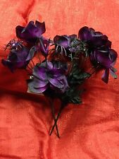 Black & Purple Roses W/ Spider Halloween Wedding Flowers Bouquets Gothic Bridal