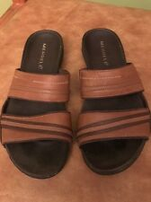 "MERRELL ""PICCOLO BROWN"" women 7 EUR 38 leather strap slide slip-on sandals shoes"