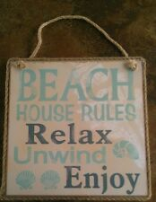 Coastal Sign Beach House Rules Relax Unwind Enjoy Home Decoration Plaque