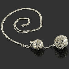 Woman Ladies Double Hollow Ball Pendant Long Chain Necklace Jewelry Fashion