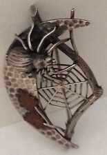 Antique Gothic Revival Sterling Silver Mixed Metal Life Like Spider Moon Brooch