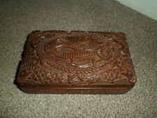 VINTAGE CARVED WOODEN DRAGON BOX