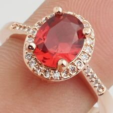 Wedding Red Oval Cubic Zircon Rose Gold Plated Lady Girl Jewelry Ring Size 10