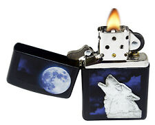 Zippo Lighter 28879 Wolf Howling Moon Black Matte Windproof Pocket Classic NEW