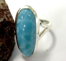 Exquisite Volcanic Blue AAA++ Larimar .925 Sterling Silver Ring #7