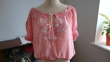 1970s true vintage silk hippy salmon pink blouse with flower detailing size M