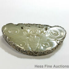 Vintage Silver Asian Chinese Moth Carved Celadon Jade Talisman Pin Brooch
