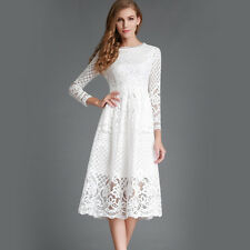 High Quality Hollow out Elegant White Lace Dress Women Long Sleeve Casual Dress