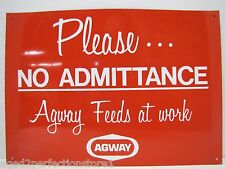 Vintage AGWAY Feeds Farm Advertising Sign tin metal feed seed store 'at work'