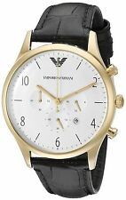 Emporio Armani AR1892 White / Black Leather Analog Quartz Men's Watch