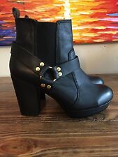 French Connection 'Joby' Leather Platform Ankle Boots Bootie Black Sz 8 38