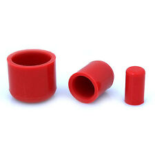 4 Pack (2 Pair) 16mm Red Silicone End Caps
