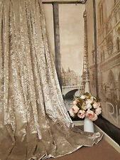 "Stunning Heavy Champagne Crushed Velvet 114""D128""W Blackout Lined Bay Curtains"