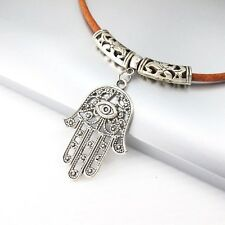 Silver Alloy Hand Of Fatima Eye Pendant 3mm Brown Leather Ethnic Tribal Necklace