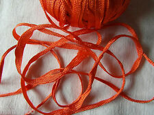 MERCERIE ANCIENNE RUBAN TRESSE lacet  orange  1,50X5MM §§ RUBBON