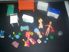Lot of Vintage Mini Doll House Furniture Accessories & Dolls Plasco Mattel ETC