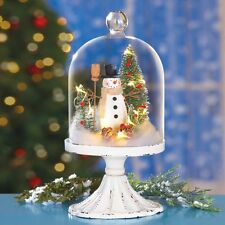 Lighted Snowman Glass Cloche Display Christmas Festive Mantel Table Decoration