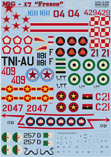 "DECAL FOR MIG-17 ""FRESCO"" 1/72 PRINT SCALE 72-008"
