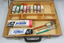 Artist Paint Wooden Carry Box With Paint Palette Board Oil Colors Brushes