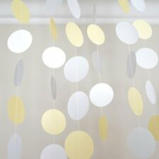 Yellow White Gray Grey Circle Dots Paper Garland 10 Ft Party Home Decor Banner