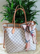 Authentic Neverfull MM Damier Azur Louis Vuitton Tote Bag.