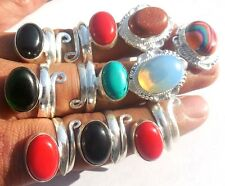 PRETTY JEWELRY MIX GEMS WHOLESALE LOT 10PC 925 STERLING! SILVER OVERLAY RING!