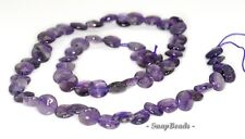 8MM  AMETHYST GEMSTONE GRADE B FLAT ROUND LOOSE BEADS 7.5""