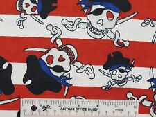 Pirate Skulls Toss Red White Stripes Flannel Fabric  BTY  (J)