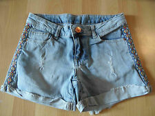 ZARA coole destroyed Jeansshorts m. bunter Borte Gr. 140 TOP SH616