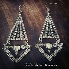 Stunning long drop white crystal gatsby geometric statement dangling earrings