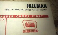 1967 - 1970 HILLMAN HUNTER Arrow HB HC   - GOLDEN FLEECE Lube Chart