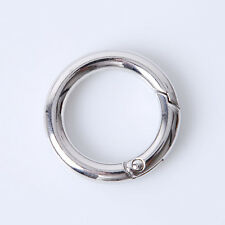 5pcs Plated Rhodium Round Alloy Safety Clasp Keyring 35mm Fit Jewelry Keychain C