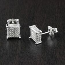 Solid 925 Sterling Silver CZ Micro Pave Setting Square Stud Earrings 7mm*7mm