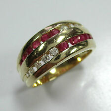 1098 - Eleganter Ring aus Gelbgold 585 - Rubine und Brillanten --- Video 1812/33