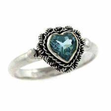 Sterling Silver Blue Topaz Vintage Heart Ring Size 8