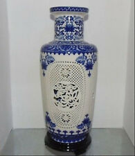 Beautiful China porcelain 2 set double hollow carved blue and white big vases