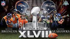 SUPER BOWL XLVIII DENVER BRONCOS v SEATTLE SEAHAWKS PROMO NFL POSTER