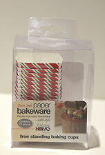 NIB Welcome Home Red and Green Stripe Square Paper Baking Cups, Set of 12