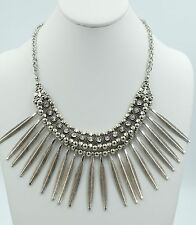 New Fashion Silver Striped Charm Statement Bib Necklace Crystal Women Gift ND36